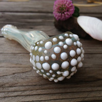 Sea Urchin Series- Glitter Green and White Intense Color Changing Glass Pipe