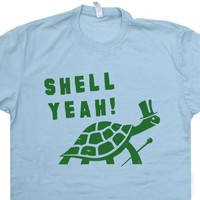 Turtle T Shirt Shell Yeah Shirt Vintage 80s Tees Cool Animal Shirts Funny Turtle Shirt