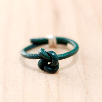 Dark green leather knot ring, gold or silver detail, stacking ring, simple leather ring
