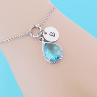 Make your own stone color, Personalized, Stone color, Initial, Disc, Bracelet, Anklet, Custom, Color, Initial, Gift, Jewelry