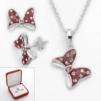 Disney Minnie Mouse Sterling Silver Crystal Polka Dot Bow Pendant & Stud Earring Set
