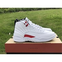 """LO Air Jordan 12 """"Twist"""" white and red color"""