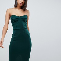 ASOS DESIGN seamed bandeau midi bodycon dress at asos.com