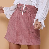 Fashionable pure color corduroy skirt belt pocket casual fashion skirt