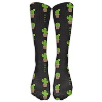 Cactus Novelty Cotton Knee High All-Over Printed Socks