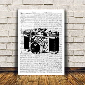 Vintage camera poster Modern decor Antique art Retro print RTA119