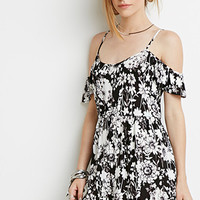 Floral Print Open-Shoulder Dress