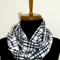 Men Scarf,infinity scarf, Plaid Infinity Scarf Wide Cotton Viscose Printed Squared Circle Scarf in Black White,