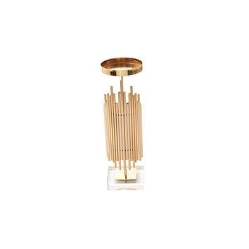 Metal Geometric Candle Holder with Acrylic Base, Small, Rose Gold
