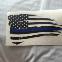 Back the Blue Distressed Flag Thin Blue Line Vinyl Decal   Yeti Cop Decal   Distressed American Flag   Blue Lives Matter   383