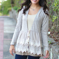 Pretty Girl Lace Cardigan {Mocha}