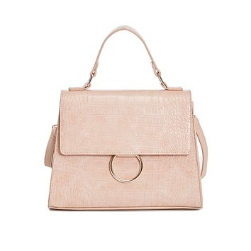 Ally Vegan Leather Faux Crocodile Metal Ring Satchel in Nude
