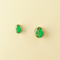 Tiny Green Stud Earrings, Small Green Resin Earrings, Green and Gold Stud Earrings, Hypoallergenic, Resin Jewelry, For Her