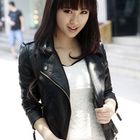 Casual Leather Turn Down Collar Zipper Down Jacket
