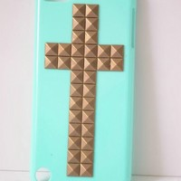 Shapotkina Punk Style Protective Case for Ipod Touch 5 Sky blue Cover with Bronze Cross Studs+Westlinke LOGO Stylus