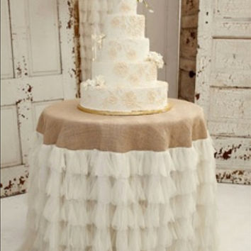 BURLAP and TULLE TABLECLOTH, Select Your Size, Round or Rectangular Tablecloth, Rustic, Vintage Weddings, Jute Tablecloth