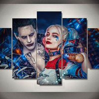 The Joker Harley Quinn Mad Love Suicide Squad DC Comics Home Office Decor 5 Panel Wall Art (50% Off + FREE Shipping)
