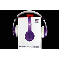 Beats Solo 3 Wireless Magic Sound Bluetooth Wireless Hands Headset MP3 Music Headphone with Microphone Line-in Socket TF Card Slot Purple I-A36H-MY