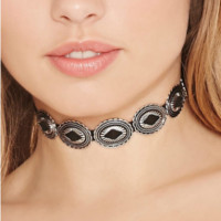 Exaggerated personality Metal Alloy Carving necklace -0406