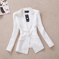 autumn Korean Slim gold buckle suit autumn coat OL leisure suit female outerwear female casual blazer [7653435462]
