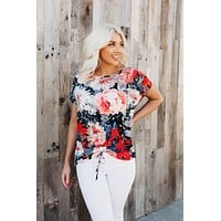 Waffle Floral Top (Coral)FINAL SALE