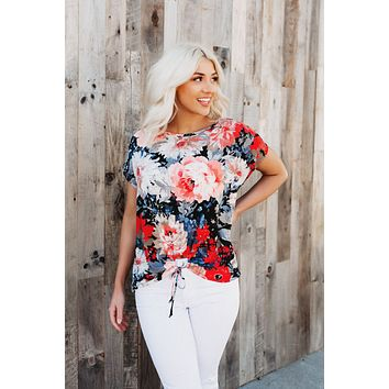 Waffle Floral Top (Coral)