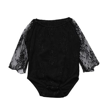 Baby Girl born Toddler Black Lace Romper Long Sleeve Jumpsuit Outfits Clothes