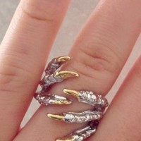 Silver-Tone Claw Wrapped Ring with Gold Tone Claw Detail