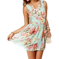 SALE-MintFloral Sleeveless Tank Skater Dress