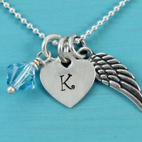 Guardian angel wing Necklace with stamped initial heart and Swarovski birthstone crystal Sterling Silver Christmas birthday gift for her