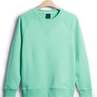 Green Classic Plain Collar Raglan Sleeve Sweatshirt - Designer Shoes|Bqueenshoes.com