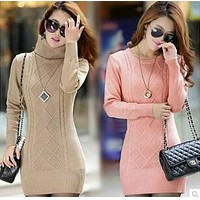 2015 new women's spring autumn winter thicken turtleneck pullover knitted sweaters women long slim sweater dresses
