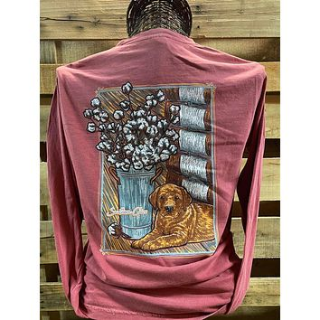 Southern Chics Apparel Puppy with Cotton Bale Comfort Colors Long Sleeve T Shirt