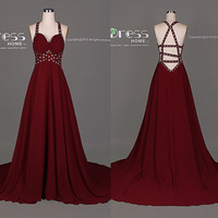 Burgundy Beading Halter Prom Dress/Sexy Criss Cross Long Prom Dress/Long Chiffon Party Dress/Burgundy Wedding Party Dress/Evening DressDH310