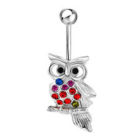 Sale Cute Owl Bird Belly Button Rings Surgical Steel Retro Animal Red Crystal Dangle Body Piercing