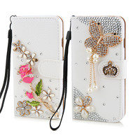 New Luxury crystal rhinestone rose flower butterfly  Wallet style bling Diamond DIY crown phone case for iphone SE 5 5s 6 6plus