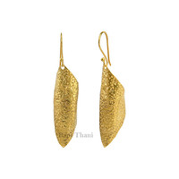 Hand Cut/Textured Micron Gold Plated 925 Sterling Silver Earring Long Shape - #1442