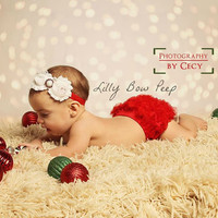 Christmas Red Diaper Cover & Matching Headband SET-Bloomers-Baby Girl Clothes-Newborn-Infant-Toddler-Fancy-Photography Prop-Pretty Outfit