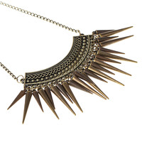 Punk Style Rivet Tassel Collar Retro Vintage Spike Pendant Necklace Jewelry Bronze Hammer  Long Chocker Accessory