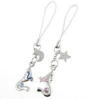 Gino Pair Silver Tone Metal Shrimp Pendant Cell Phone Straps for Couple