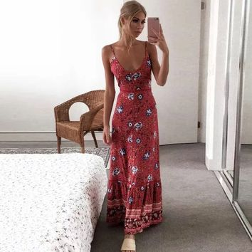Red Floral Print Women Dress Sexy Strappy Maxi Dresses Sleeveless V-Neck Dress Boho Chic Beach Dresses Vestidos