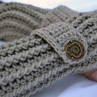 Clay crochet arm warmers, fingerless gloves ribbed with wrist strap and buttons