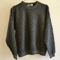 Green Pattern Sweater Oversized 90's Vintage Large