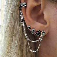 Gypsy Earrings Set 4 Pieces Including Ear Cuff Cascading Chains Stacking Boho Jewelry Silver Black Stones