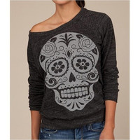 Women Fashion Slash Neck Sugar Skull Print Sweatshirt Long Sleeve T Shirt NZF5809 [8833378764]