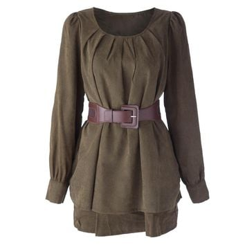 Stylish Scoop Neck Long Sleeve Solid Color Ruffled Dress For Women
