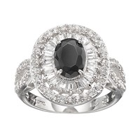 Sophie Miller Cubic Zirconia Sterling Silver Oval Ring (Black)