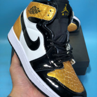 DCCK N754 Nike Air Jordan 1 AJ1 Pinnacle Leather High Skate Shoes Gold Black White