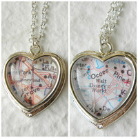 Disneyland or Walt Disney World Map Necklace - Petite Heart CHOOSE your map and necklace color