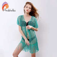 Andzhelika 2016 Summer Sexy Womens Beach Cover Up Hollow Lace Crochet Beachwear Tassel Women Swimsuit Beach Cover Up AK67161